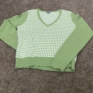 Ann Taylor Green and White Patterned Sweater